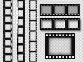 strisce di pellicola retrò 35mm assortite vettore
