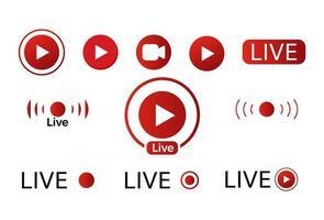 set di icone video dal vivo vettore