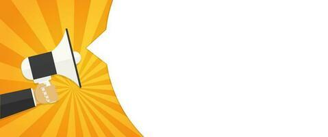 megafono della tenuta della mano con l'insegna in bianco del fumetto vettore