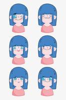 ragazza dai capelli blu emoji assortiti vettore