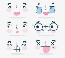 set di facce emoji kawaii vettore