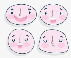 insieme di emozioni di volti umani