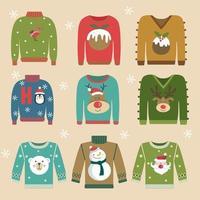maglione colorato di Natale sul set di jumper vettore