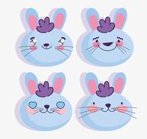set di emoji coniglio blu vettore