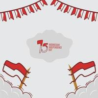 disegno disegnato a mano di festa dell'indipendenza indonesiana vettore