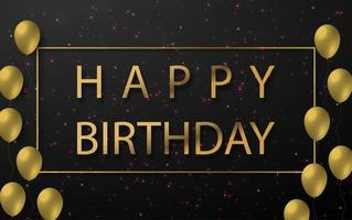 buon compleanno design con palloncini di colore dorato