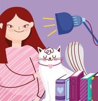ragazza con libri e un gatto