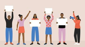 protestare i neri con striscioni vettore
