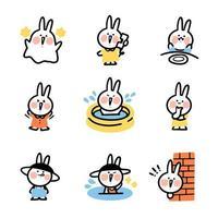 insieme di doodle del coniglietto vettore