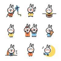 set di adesivi doodle coniglio carino vettore