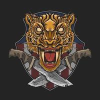 emblema della testa di tigre con pugnali incrociati vettore