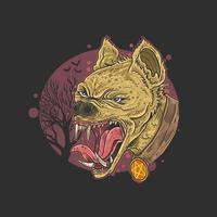testa di faccia arrabbiata iena selvaggia vettore