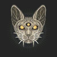 testa di gatto sphynx su mandala vettore