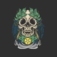 teschio morto con corona di foglie vettore