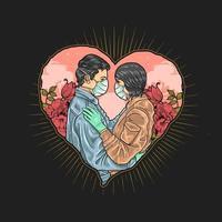 coppia mascherata innamorata durante la pandemia vettore