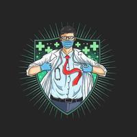 eroe medico mascherato nell'emblema dello scudo vettore