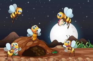 scena notturna con api che volano in giardino vettore