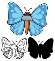 set di cartoni animati farfalla vettore