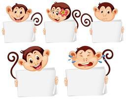 modelli di segno in bianco con scimmie felici
