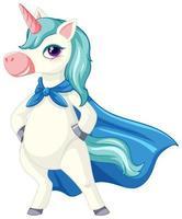 unicorno blu carino su bianco vettore