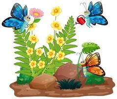 scena di giardinaggio con farfalle che volano vettore