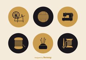Icone di vettore di lavoro a maglia e cucito