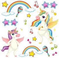 simpatici unicorni con tema musicale vettore