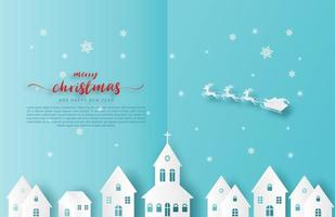 carta tagliata Babbo Natale e renne sorvolano la città