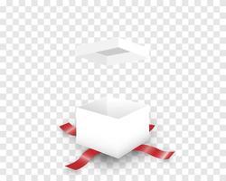 confezione regalo bianca aperta e nastro rosso vettore