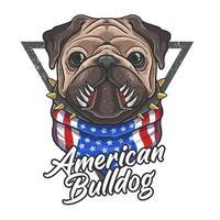 Bulldog americano con bandana bandiera americana vettore