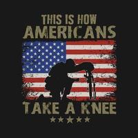 veterano americano prende un ginocchio per i caduti
