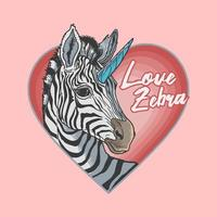 mascotte zebra di San Valentino vettore
