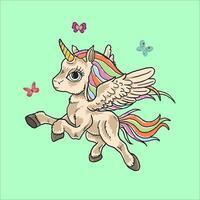 unicorno colorato gioca con le farfalle vettore