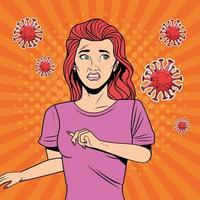 donna con covid-19 particelle pop art