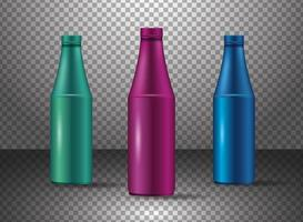 set di vari prodotti di bottiglie di vetro di colore