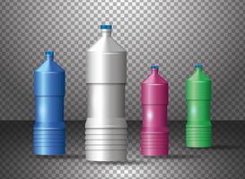 set di vari prodotti di bottiglie di plastica colorate