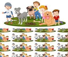 disegno di sfondo senza soluzione di continuità con bambini e cani vettore