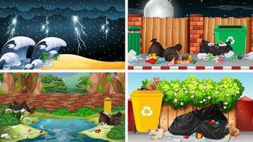 scene di inquinamento in contesti urbani e naturali