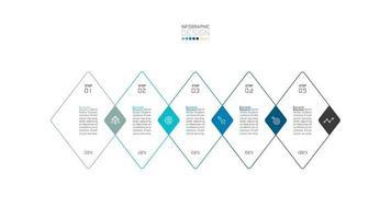 moderna forma di diamante sovrapposta 5 passaggi infografica aziendale vettore