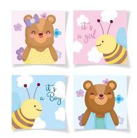 modelli di carta invito piccoli animali del bambino
