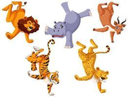 set di animali selvatici in piedi da un lato