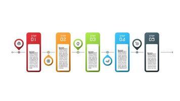 Infografica di operazioni commerciali in 5 passaggi vettore