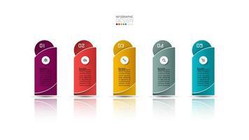 Design infografico colorato per 5 opzioni