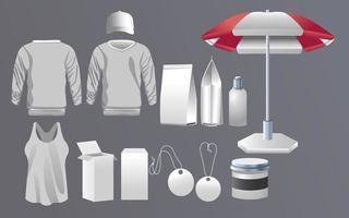 abbigliamento moda branding e set di icone commerciali