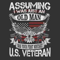 noi emblema veterano con aquila e citazione vettore
