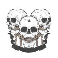 teschi di halloween con tessuto in bocca e banner vettore