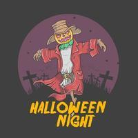 spaventapasseri grafico di notte di halloween vettore