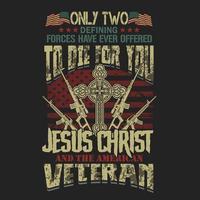 emblema di Gesù Cristo veterano americano per i disegni di t-shirt
