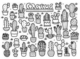 insieme di doodle di cactus vettore