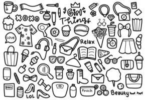insieme di doodle di oggetti ragazza